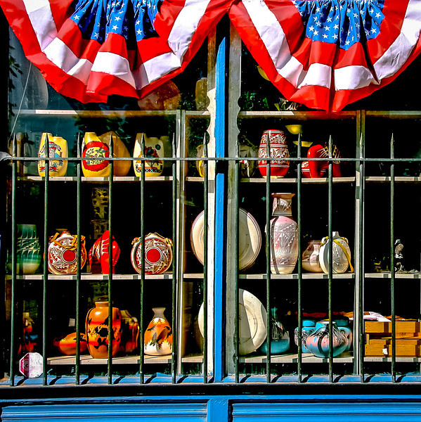 """' Pottery Shop '  Las Cruces / Mesilla New Mexico  12""""x16"""", Luster paper (12 mil) Open edition  © 2013 R. Gallet"""