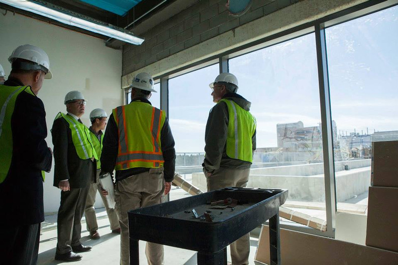. Dean Chamra has big plans for the first floor roof, where students can go and observe the alternative energy systems and greenery. (Photo by Jason Willis/Oakland University)