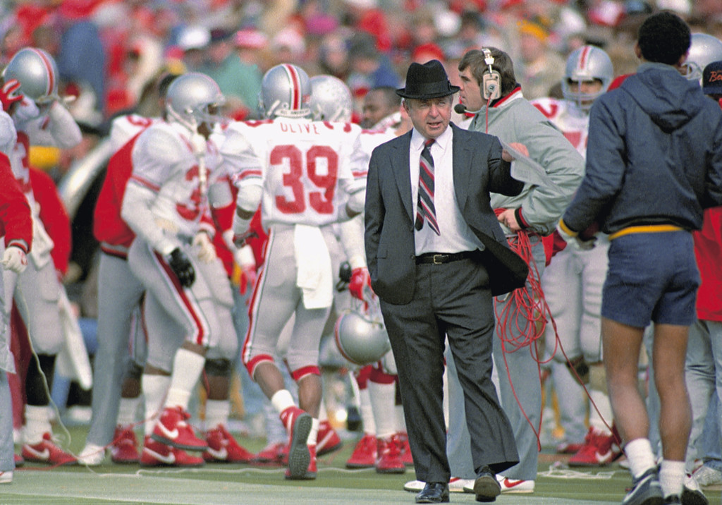 . Ohio State Coach Earle Bruce patrols the sidelines during a game with Michigan in Ann Arbor, Mich., Nov. 21, 1987. Bruce was fired this week as head coach of the Buckeyes. (AP Photo/Robert Kozloff)