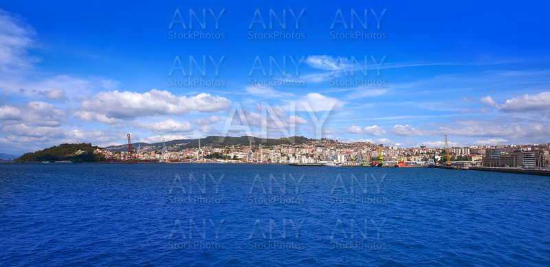 Vigo port skyline view from the sea in Galicia