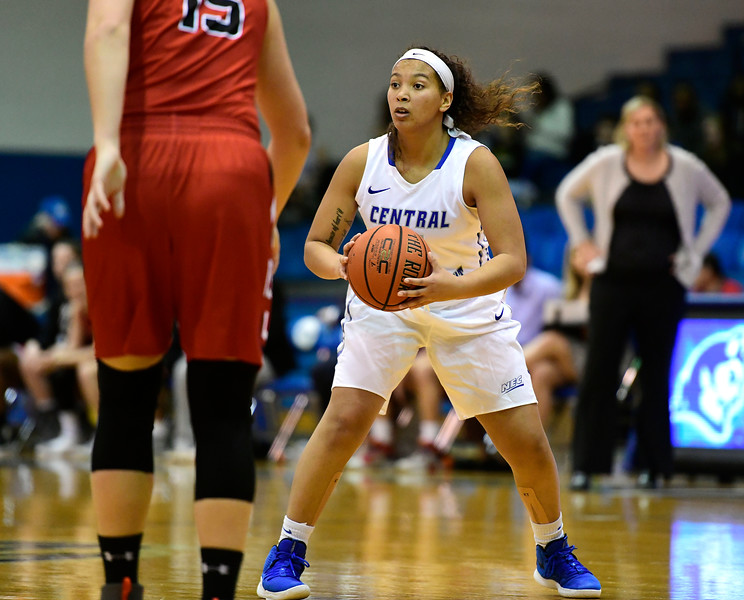 1/19/2019 Mike Orazzi | Staff CCSU's Kiana Patterson (4) during Saturday's basketball game with Saint Francis University in New Britain.