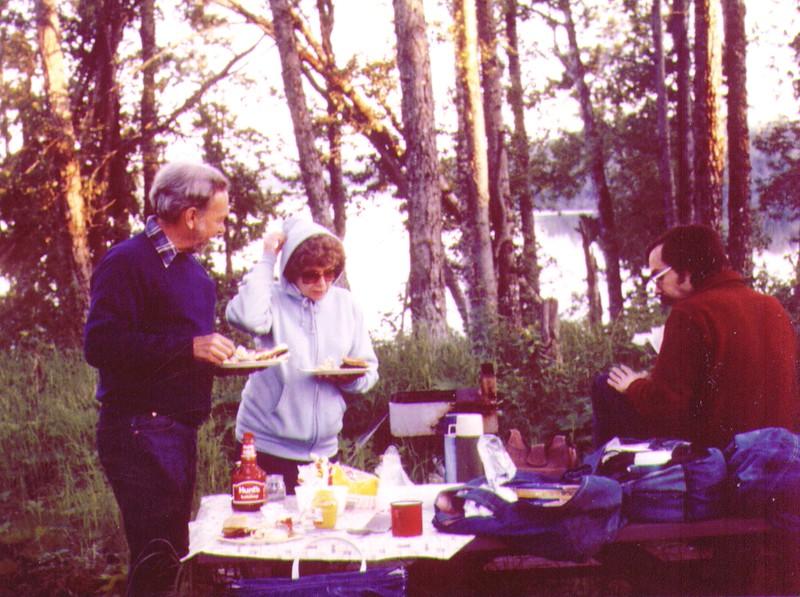 Wayne, Bonnie, Dave, Picnic at Stormy Lake, July 1980.jpg