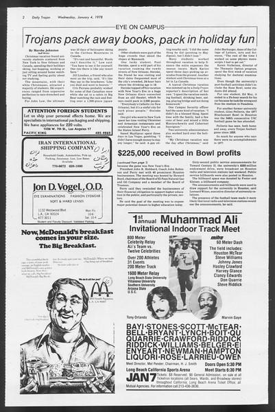 Daily Trojan, Vol. 72, No. 58, January 04, 1978
