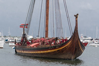 Drakken HH Viking Ship Arrives in Plymouth  7/17/18
