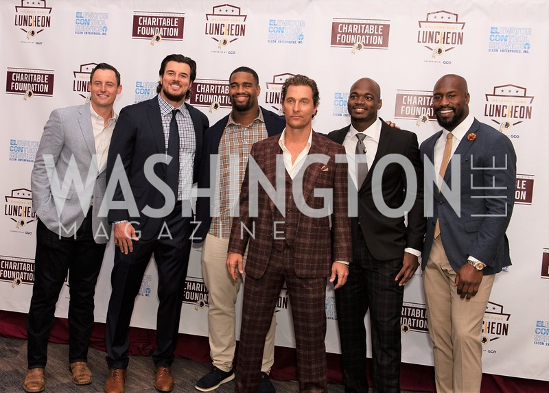 Tress Way, Ryan Kerrigan, Jonathan Allen, Matthew McConaughey, Adrian Peterson, Vernon Davis. Photo by Y. Holman. Washington Redskins Lunch. Washington Hilton.