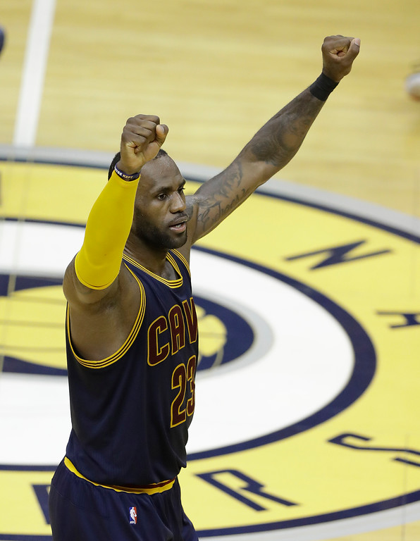 . Cleveland Cavaliers\' LeBron James celebrates during the second half in Game 3 of the team\'s first-round NBA basketball playoff series against the Indiana Pacers, Thursday, April 20, 2017, in Indianapolis. Cleveland defeated Indiana 119-114. (AP Photo/Darron Cummings)