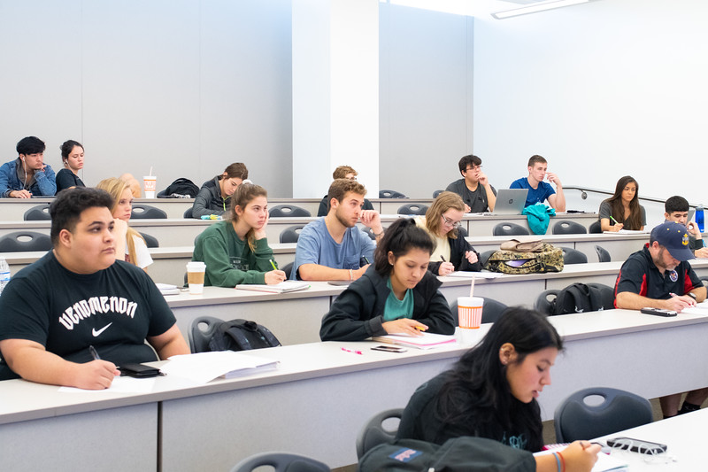 Students taking notes in their College Algebra lecture.