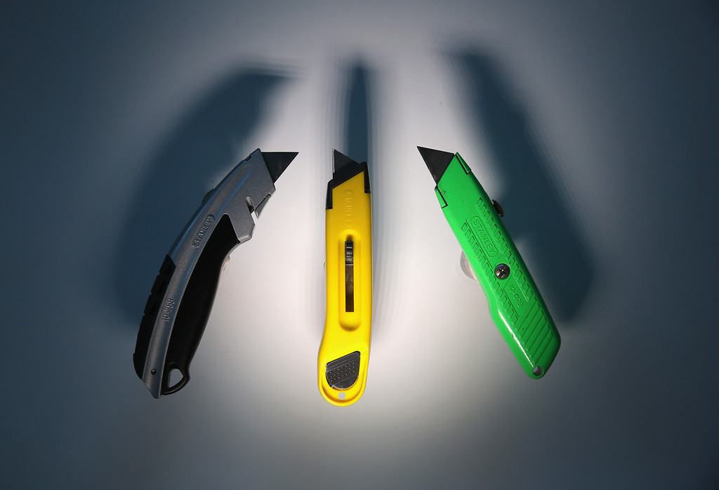 . Box cutters are displayed after being confiscated at an airport security checkpoint at the JFK International Airport on November 18, 2014 in New York City.  (Photo by John Moore/Getty Images)