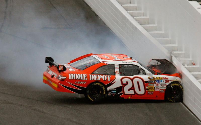 . Joey Logano crashes during the NASCAR Daytona 500 auto race at Daytona International Speedway in Daytona Beach, Fla., Sunday, Feb. 15, 2009. (AP Photo/Glenn Smith)