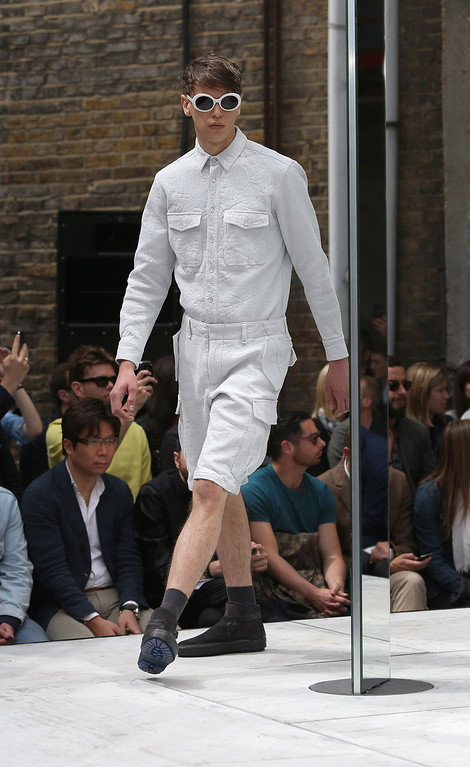 . A model wear a creation by designer Rag & Bone during London Men\'s spring summer fashion collections 2014, in London, Monday, June 17, 2013. (Photo by Joel Ryan/Invision/AP)