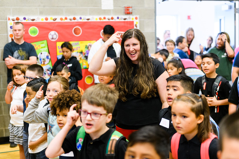 Second-grade teacher Tracy Wiclund helps lead her students in the daily affirmation in the school gymnasium. Back to school day at Hallman Elementary School on Wednesday, September 4, 2019 in Salem, Ore.