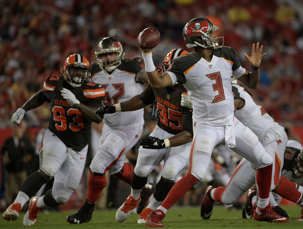 . Tampa Bay Buccaneers quarterback Jameis Winston (3) throws against the Cleveland Browns during the third quarter of an NFL preseason football game Saturday, Aug. 26, 2017, in Tampa, Fla. (AP Photo/Phelan Ebenhack)