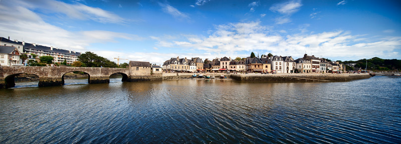 Saint-Goustan port, town of Auray, departement of Morbihan, Brittany, France. Very high resolution panorama.