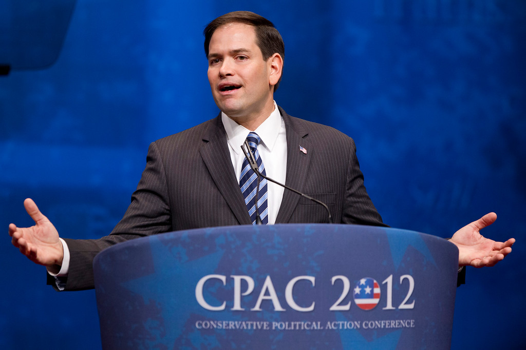 . FILE - In this Feb. 9, 2012, file photo, Sen. Marco Rubio, R-Fla., addresses the Conservative Political Action Conference in Washington.  (AP Photo/J. Scott Applewhite, File)