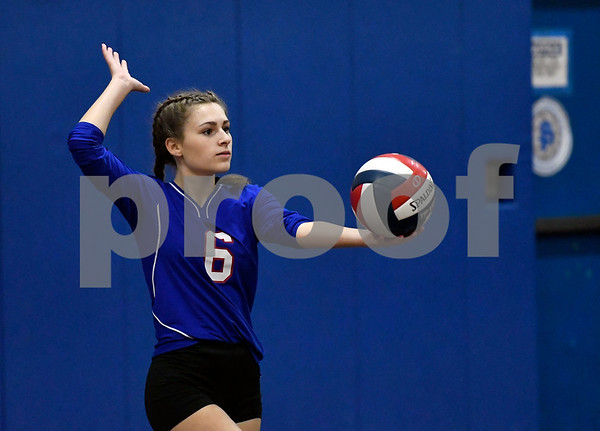 10/18/2017 Mike Orazzi | Staff St. Paul's Grace Carabetta (6) during volleyball with Goodwin Tech in Bristol Wednesday.