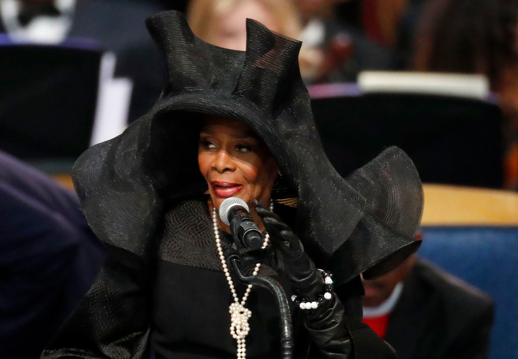 . Cicely Tyson speaks during the funeral service for Aretha Franklin at Greater Grace Temple, Friday, Aug. 31, 2018, in Detroit. Franklin died Aug. 16, 2018 of pancreatic cancer at the age of 76. (AP Photo/Paul Sancya)