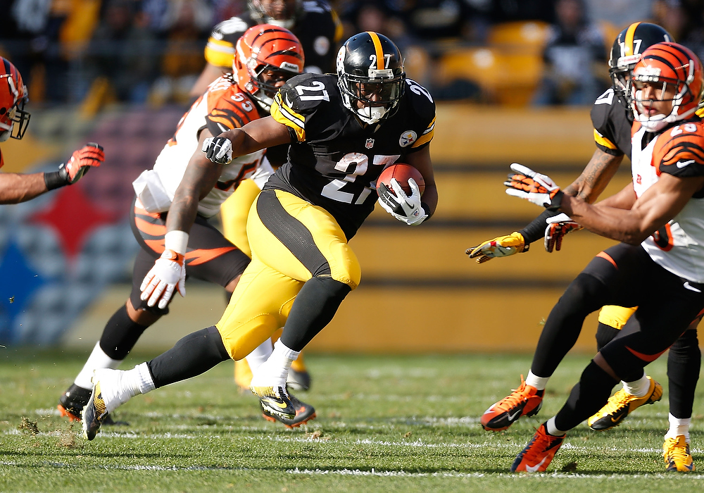 Description of . Jonathan Dwyer #27 of the Pittsburgh Steelers looks for running room while playing the Cincinnati Bengals  at Heinz Field on December 23, 2012 in Pittsburgh, Pennsylvania. (Photo by Gregory Shamus/Getty Images)