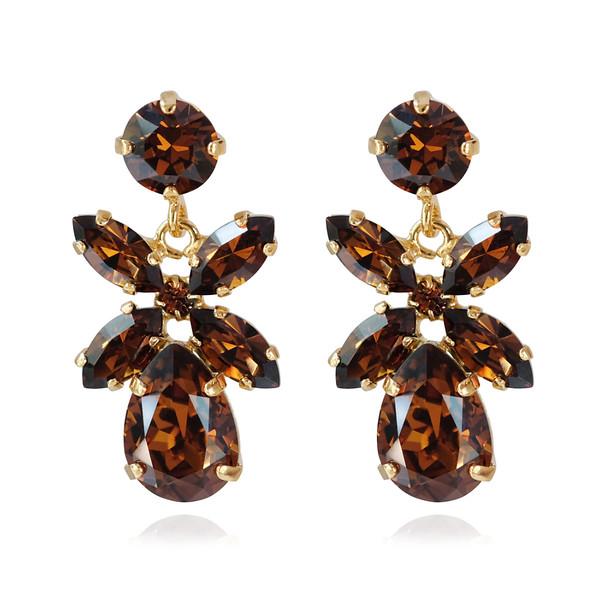 Mini Dione Earrings / Smoked Topaz Gold