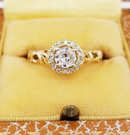 0.50ct Old European Cut Diamond in Halo Setting