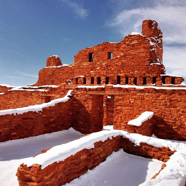 In between bird-spotting trips last weekend, we went to see some other New Mexico treasures like the Salinas Pueblo Missions National Monument. This site protects the history of three ancient Pueblo Indian villages. You can walk among the ruins of 17th Century Spanish mission churches and see unexcavated mounds marking ancient structures. This is the mission church in the village of Abo. The red sandstone glowed against the snow. via Instagram http://bit.ly/1BBbRHS