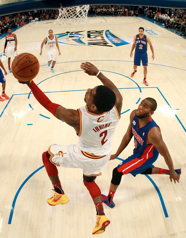 . Cleveland Cavaliers\' Kyrie Irving, of Team Chuck, drives to the basket during the NBA All-Star Rising Stars Challenge basketball game in Orlando, Fla., Friday, Feb. 24, 2012. Irving was the game\'s MVP as Team Chuck defeated Team Shaq 146-133. (AP Photo/Mike Ehrmann, Pool)
