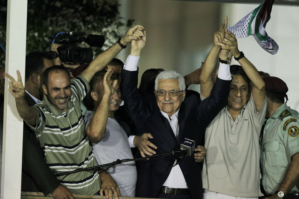 . Palestinian President Mahmoud Abbas delivers a speech to released Palestinian prisoners, at his headquarters in the West Bank city of Ramallah, August 14, 2013.  Israel freed 26 Palestinian prisoners on August 14, 2013, hours before the two sides were to hold new direct peace talks amid a growing row over settlements.   ABBAS MOMANI/AFP/Getty Images