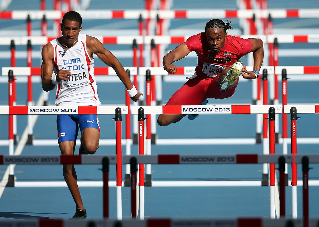 . Orlando Ortega of Cuba and Aries Merritt of the United States  compete in the Men\'s 110 metres hurdles heats during Day Two of the 14th IAAF World Athletics Championships Moscow 2013 at Luzhniki Stadium on August 11, 2013 in Moscow, Russia.  (Photo by Christian Petersen/Getty Images)