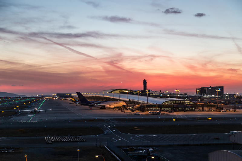 Sunset at Osaka Kansai International Airport. Editorial credit: ThamKC / Shutterstock.com