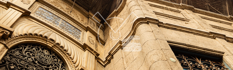 Panorama of remarkable architecture, building details at Muizz Street in Old Cairo