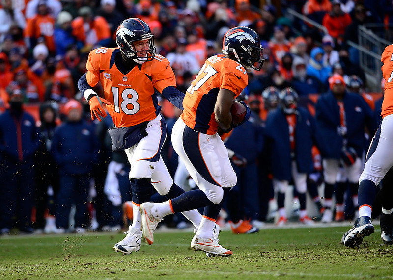 . Denver Broncos quarterback Peyton Manning (18) hands off to Denver Broncos running back Knowshon Moreno (27) in the first quarter. The Denver Broncos vs Baltimore Ravens AFC Divisional playoff game at Sports Authority Field Saturday January 12, 2013. (Photo by AAron  Ontiveroz,/The Denver Post)