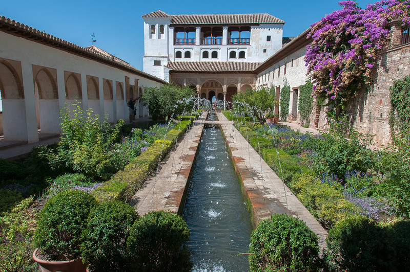 Fountain at the garden of Alhambra, Granada, Spain