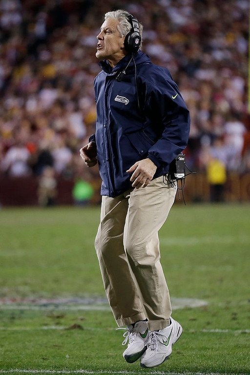 . Seattle Seahawks head coach Pete Carroll reacts to a play during the first half of an NFL wild card playoff football game against the Washington Redskins in Landover, Md., Sunday, Jan. 6, 2013. (AP Photo/Matt Slocum)