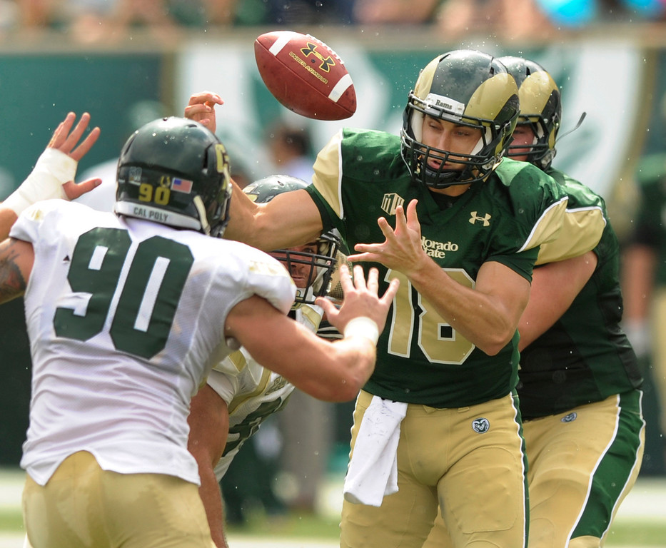 . FORT COLLINS, CO. - SEPTEMBER 14: Colorado State quarterback Garrett Grayson (18) lost the ball in the first half but the Rams were able to recover the fumble. The Colorado State University football team defeated Cal Poly at Hughes Stadium in Fort Collins Saturday afternoon, September 14, 2013.  It was the Rams\' first home game and first win of the season. Photo By Karl Gehring/The Denver Post