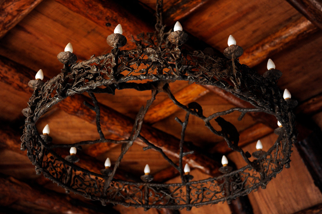 . PINE, CO - APRIL 18: An original chandelier made from iron hangs in the main living room of Baehrden Lodge on April 18, 2014, in Pine, Colorado. (Photo by Anya Semenoff/The Denver Post)