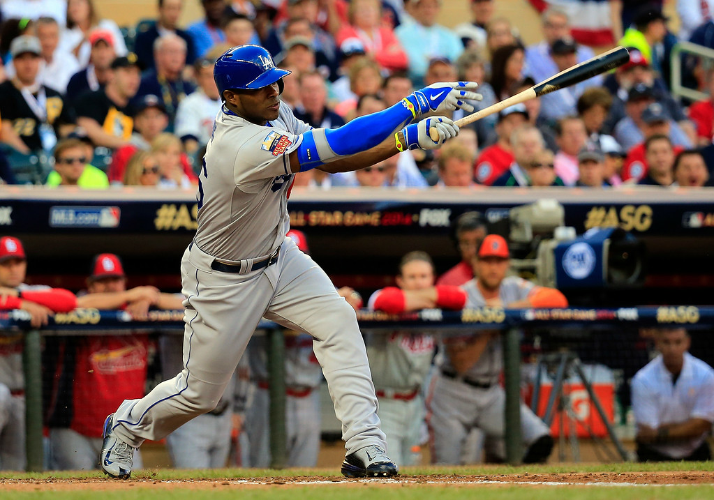 . National League All-Star Yasiel Puig #66 of the Los Angeles Dodgers bats against the American League All-Stars during the 85th MLB All-Star Game at Target Field on July 15, 2014 in Minneapolis, Minnesota.  (Photo by Rob Carr/Getty Images)
