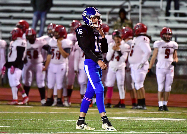 10/11/2019 Mike Orazzi | StaffrSouthingtons Jack Barnum (16) during Friday night's football game with Manchester in Southington. r