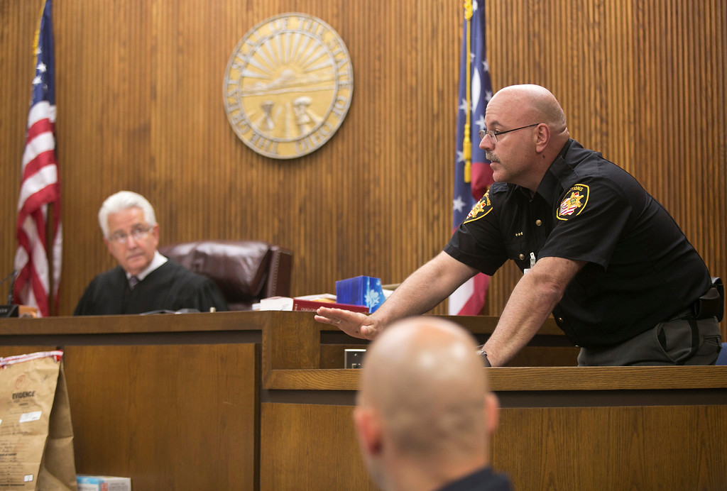 . Michael Allen Blair/MBlair@News-Herald.com Lake County Corrections officer J. Leonard testifies about a time when Kevin Knoefel visited the facility in an effort to visit Sabrina Zunich after her incarceration. Leonard was testifying on day three of Knoefel\'s murder conspiracy trial on June 4, 2014.