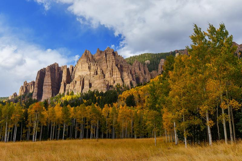 Fall colors in Cimarron Range near Silver Jack Reservoir, Colorado.