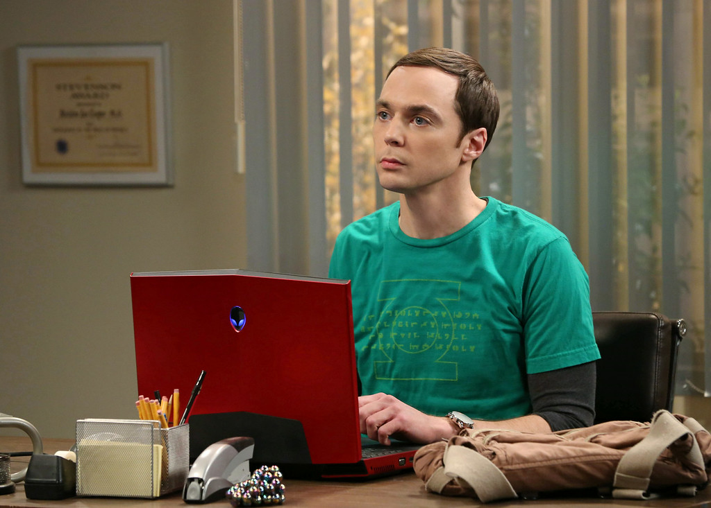 """. This image released by CBS shows Jim Parsons in a scene from \""""The Big Bang Theory.\"""" Parsons was nominated for an Emmy Award for best actor in a comedy on Thursday, July 10, 2014. The 66th Primetime Emmy Awards will be presented Aug. 25 at the Nokia Theatre in Los Angeles. (AP Photo/CBS, Michael Yarish)"""