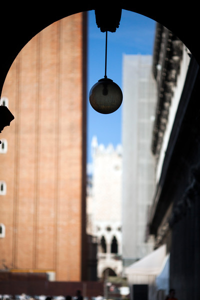 Street lamp on Piazza San Marco with the Campanile blurred on the background