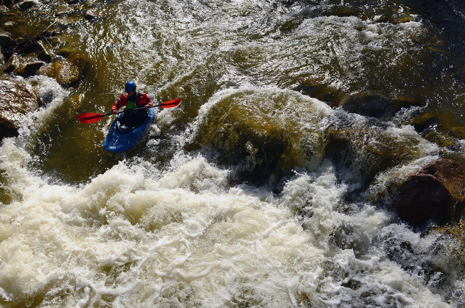 . Mark Ariniello braves the cold waters of Boulder Creek to take a few runs in his kayak in Boulder, Co on April 28, 2014.  With big mountain snow and high water tables creeks and rivers will be running big once the snow melt begins.  (Photo By Helen H. Richardson/ The Denver Post)