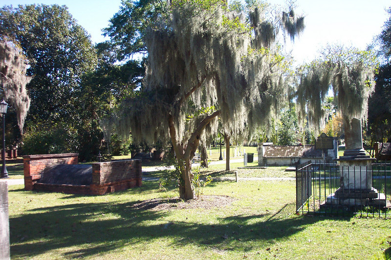 A cemetary in Savannah.  The grave stones were made comical by Northern Soldiers, so that you find a husband who died before he was born, or a child who was born when the mother was 60.