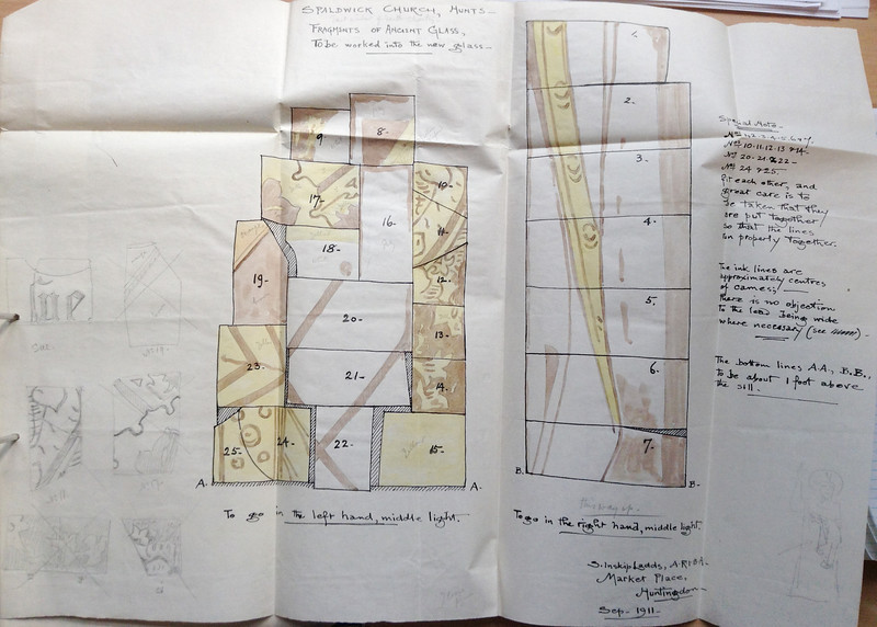 Plan for building fragments of original glass from previous Church window into current window. Kindly provided by the Norris Museum