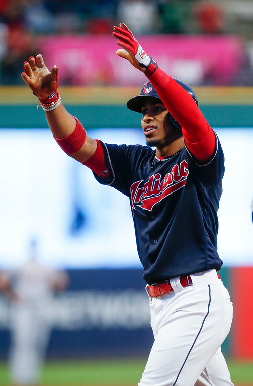 . Cleveland Indians\' Francisco Lindor celebrates after hitting a solo home run off Detroit Tigers starting pitcher Matthew Boyd during the first inning in a baseball game, Tuesday, Sept. 12, 2017, in Cleveland. (AP Photo/Ron Schwane)