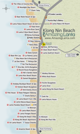 Klong Nin Beach Map