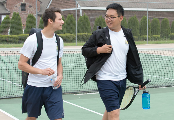 05/09/19 Wesley Bunnell | Staff Newington boys tennis defeated New Britain at New Britain High School on Thursday afternoon. Newington's #1 double players Zack Palanza and Shihao Zhai.