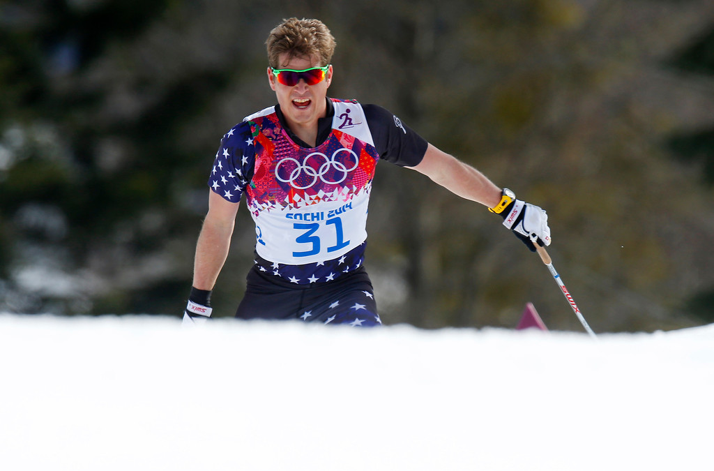 . United States\' Kris Freeman competes during the men\'s 50K cross-country race at the 2014 Winter Olympics, Sunday, Feb. 23, 2014, in Krasnaya Polyana, Russia. (AP Photo/Dmitry Lovetsky)