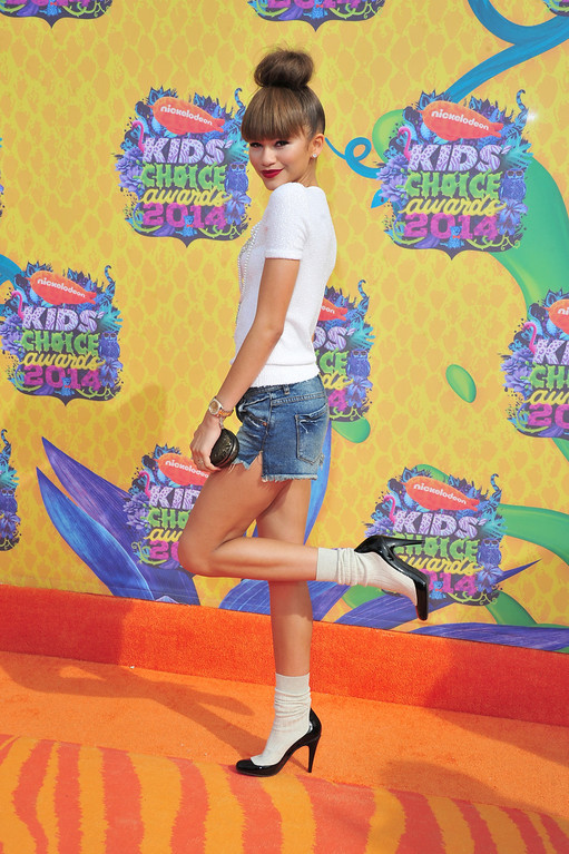 . Actress Zendaya attends Nickelodeon\'s 27th Annual Kids\' Choice Awards held at USC Galen Center on March 29, 2014 in Los Angeles, California.  (Photo by Frazer Harrison/Getty Images)