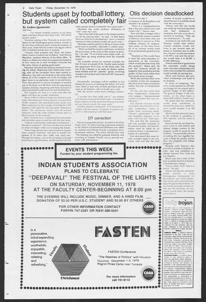 Daily Trojan, Vol. 75, No. 36, November 10, 1978
