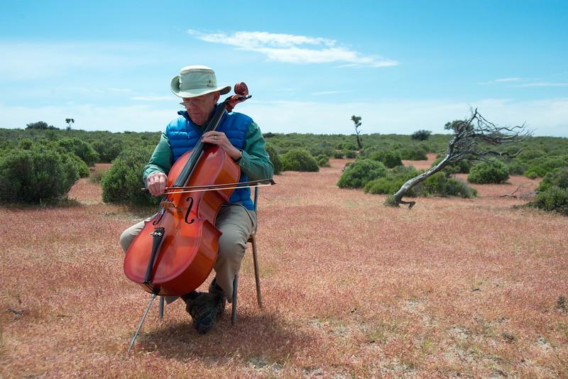 Roger tocando el violonchelo